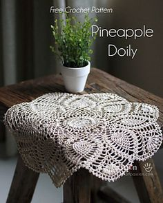 Crochet Doily Patterns 64334 Written & chart pattern to crochet this beautiful puff stitch Pineapple Doily. Puff stitch design gives the pineapple doily an exquisite texture. Free Crochet Doily Patterns, Crochet Doily Diagram, Crochet Motif, Crochet Designs, Free Pattern, Ravelry Crochet, Crochet Home, Crochet Crafts, Crochet Projects