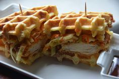 "Chicken Bacon Waffle Sandwhich    ""Without the slaw, please."" - Preston"