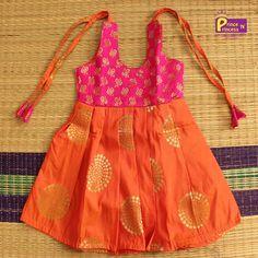 New Born blue Kids Frock for naming and cradle Ceremony Kids Pattu Pavadai Pattu Langa