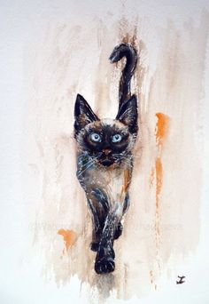 ARTFINDER: Let's Play! by Zaira Dzhaubaeva - Original watercolor painting on paper.  Playful Siamese Kitten in impressionist style.  If you order the painting in March it will be sent from Russia vi...