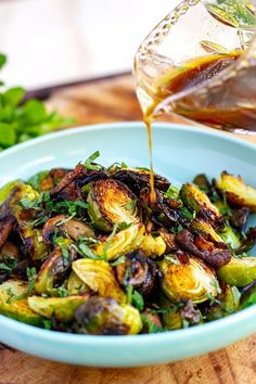 Balsamic honey Brussels sprouts are roasted and served warm with the delicious dressing that has some hot mustard and garlic. Inspired by a dish from Porteno restaurant in Sydney but is a simplified homemade version. Great as a side dish for any occasion but especially Thanksgiving, Christmas and Sunday roast. Gluten-free, paleo Brussel sprouts recipe. Healthy Brussel Sprout Recipes, Vegetarian Recipes, Cooking Recipes, Vegan Vegetarian, Vegetarian Roast Dinner, Vegetable Recipes, Broccoli Recipes, Vegan Soup, Cauliflower Recipes