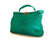 leather bag purse turquoise  the Lana big  by TRACCEleather, $179.00