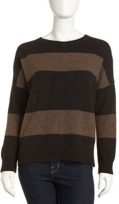 ShopStyle: Vince High-Low Striped Sweater, Carbon/Nutmeg