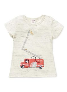 100% Cotton Jersey short sleeve tee with front fire truck applique & print. Features shoulder snaps for easy dressing.