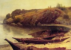Albert Bierstadt - Canoes: The Art in Pixels - Online Art Gallery