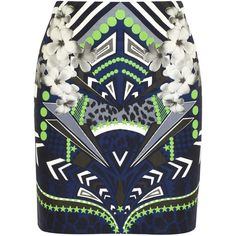 Emma Cook Pop printed stretch-jersey mini skirt ($72) ❤ liked on Polyvore featuring skirts, mini skirts, bottoms, saias, faldas, green, mini, multi colored skirt, green skirt and stretch jersey