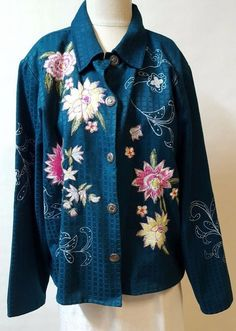 Teal Green Shirt Size PXL  Large Embroidered Flowers Lined Button Front #AlexKim #ButtonDownShirt #work
