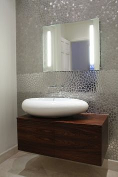 Today's bathroom sinks come in all sorts of styles, but if you want a design that's both contemporary and compelling, consider one with an egglike shape. This Duravit sink is a chic complement to the floating vanity. Modern Contemporary Bathrooms, Modern Bathroom, Small Bathroom, Bathroom Sinks, Bathroom Wall, Bathroom Ideas, Bathroom Splashback, Funky Bathroom, Bathroom Fireplace