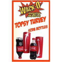 Topsy Turvy Soda by Wack-O-Magic - AN INSTANT CLASSIC WACK-O-MAGIC'S TOPSY TURVEY SODA BOTTLES The magician and his volunteer assistant each have a bottle and a tube. No matter how hard they try, as each turns their tube over with the bottle inside, their respective bottles end up going in different directions. Magically, with the volunteer's help, the magician's bottle ... get it here: http://www.wizardhq.com/servlet/the-14329/topsy-turvy-soda-by-wack-o-magic/Detail?source=pintrest