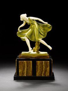 Ferdinand Preiss 'Spring Dancer' a cold painted and carved ivory figure, circa 1925 Art Nouveau, Art Deco Artists, Art Deco Lamps, Art Deco Era, Objet D'art, Art Deco Design, New Art, Street Art, Carving