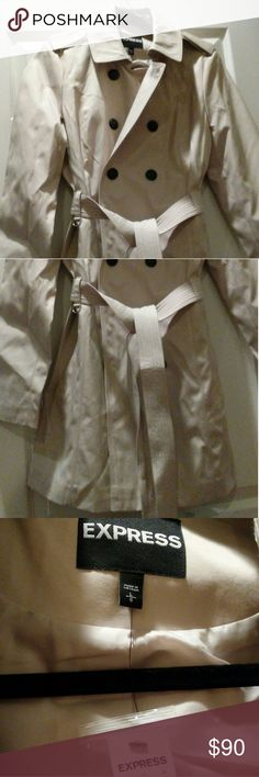 Express Classic Trench Coat w/Trapunto Stitch Sash Cream colored long sleeved trench with wide notched collar, shoulder epaulettes, double breasted front with storm flaps, slant welt hand pockets, removable sash, center back vent, lined, machine wash, new with tags. Express Jackets & Coats Trench Coats