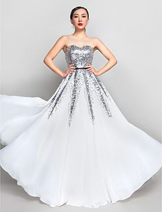 A-line Sweetheart Floor-length Chiffon And Sequined Evening/Prom Dress (890072) - USD $ 109.79 White and silver