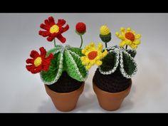 CACTUS CON FLORES DE GANCHILLO - YouTube Crochet Cactus, Crochet Flowers, Crafts For Kids, Diy And Crafts, Crochet Flower Tutorial, Handmade Flowers, Free Pattern, Crochet Patterns, Stitch