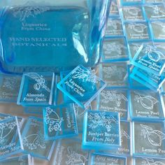 200 Bombay Sapphire Gin Ingredient Tiles  reserVed by reVetro
