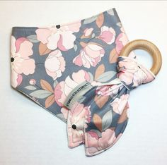 Bamboo and cotton bib and teether ring. Handmade in Canada.