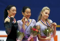 Mao Asada (C) of Japan, Rika Hongo (L) of Japan and Elena Radionova of Russia pose for pictures with their medals at the awarding ceremony after winning the ladies free skating program during China ISU Grand Prix of Figure Skating, in Beijing, China, November 7, 2015. REUTERS/Kim Kyung-Hoon (2820×1914)