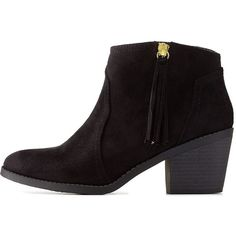 Charlotte Russe Black Side-Tassel Chunky Heel Booties by Charlotte... (12.020 HUF) ❤ liked on Polyvore