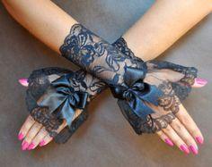 Elegant GOTHIC VAMPIRE Glamour GLOVES black by SophieAndHerStore