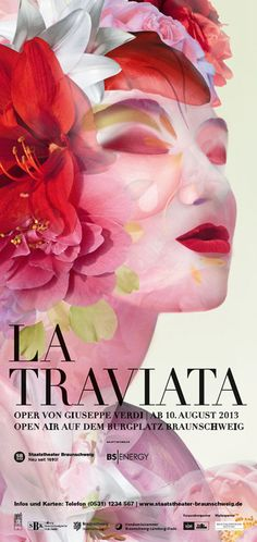 Visual Communication -  this poster is extremely visual in terms of colour and the design itself, i love how the designer has merged the floral and facial images into one area, creating a high impacting image  Typographic Design - Text stands out in black bold, also the font chosen complements the visual part  la traviata verdi poster - Pesquisa Google