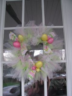 borrowed this idea  for a cute Easter wreath...only took about 2 hours #Wreath #Tulle