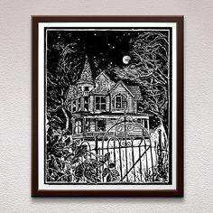 Victorian House Relief Art Print Block Print Linocut by Stamp Printing, Screen Printing, Linocut Prints, Art Prints, Halloween Art, Halloween Prints, Or Mat, Office Art, Victorian Homes