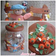 Vidro fazendinha, decorado em biscuit