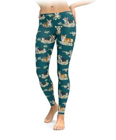 Cute Dogs Breed Welsh Corgi Womens Printed Yoga Pants High Waisted Workout Leggings