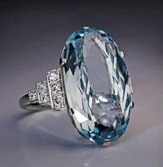 Antique Rings, Vintage Rings, Antique Jewelry, Vintage Jewelry, Aquamarine Jewelry, Diamond Jewelry, Gemstone Jewelry, Blue Rings, White Gold Rings