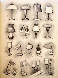 drawing of types of lamps