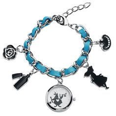 - Silver-turquoise wristwatch with five Wonderland pendants - Adjustable strap length from approx. 18.5 to 22 cm - Casing diameter: approx. 2.5 cm - The watch is delivered in an Alice in Wonderland box - Case made of zinc alloy with a stainless-steel lid - Wristband made from zinc alloy and polyurethane  At first glance, this 'Alice in Wonderland White Rabbit' wristwatch looks less like a classic wristwatch, more like a stylish bracelet. Complete with five pendants with Wonderland motifs…