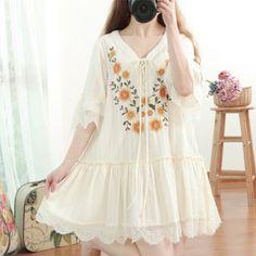 BOHOCHIC Original Bohemian Lolita Cute Flare Sleeve Loose Cotton Linen Spliced Lace Women Embroidery Dress  RY0013X Boho Chic