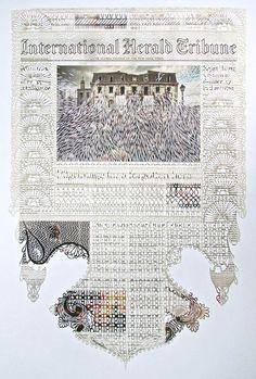 Les créations de l'artiste canadienne Myriam Dion, qui transforme des pages de journaux en de magnifiques et délicates dentelles de papier, découpant à la main avec précision textes et images. Un travail impressionnant !