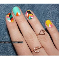 Colorful Nail Design for Short Nails Turquoise Nail Designs, Tribal Nail Designs, Silver Nail Designs, Dot Nail Designs, Tribal Nails, Colorful Nail Designs, Hair And Nails, My Nails, Opi