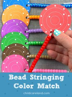 Bead stringing color match for fine motor development. Early Learning Activities, Classroom Activities, Fine Motor, Silver Beads, Card Stock, Shapes, My Favorite Things, Handwriting, Children