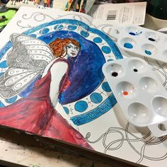 Even though .@thestromboshow is done for the night I'm going to keep working on this one. #artjournal #artnouveau #sundayinthestudio  @strombo