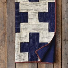 Heritage Navy Cross Throw, Kantha Cross Cotton Throw
