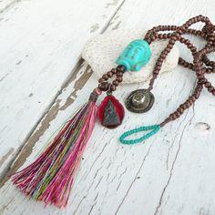Long Buddha Tassel Necklace, Dark Brown Wood Beads, Turquoise and Red, Rainbow Silk Tassel