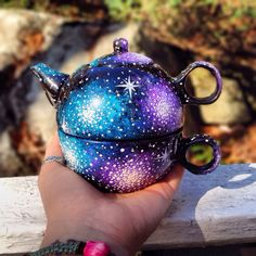 Hand painted one serving tea pot set.... I have a white one of these.... I'm seriously doing this