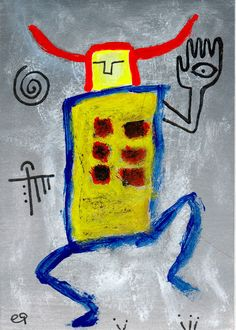 phenomena of the physical world depend on the psyche of the observer e9Art ACEO Shaman Primitive Visionary Outsider Art Brut Painting