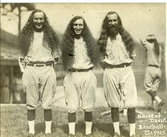 Baseball team---Early century House of David baseball players.so that's where the football players of today get their hair styles. Pro Baseball, Baseball Photos, Baseball Players, Softball, Zz Top, Vintage Photographs, Vintage Photos, House Of David, The Sporting Life