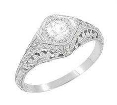 White Topaz Filigree Engagement Ring