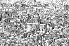 Hand-Drawn Panorama Of London From The Shard