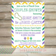 d04f4ebb279e Mardi Gras Theme Coouples Shower Invitation Mardi by SophiasThings Couples  Shower Invitations