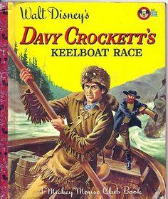1950's Children's Little Golden Book - Davy Crockett's Keelboat Race 1st Ed.