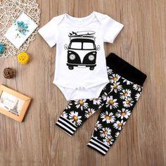 9035d41ed Newborn Baby Boys Girls Car Romper Jumpsuit Pants Floral Outfits Set Clothes  USA