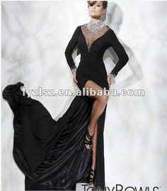 A-line Asymmetrical new design elegant fashion black long sleeve evening dresses 2012