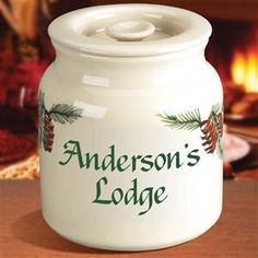 Pinecone Design Ceramic Personalized Cookie Jar with Inset Lid