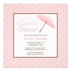 CLICK ON THE LARGER IMAGE TO SEE PRICING INFORMATION - - Pretty Pink Parasol Bridal Shower Invitation