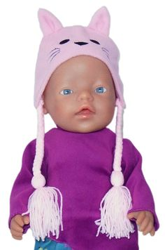 This cute beanie is made from fleece and looks just adorable with pom pom ties.