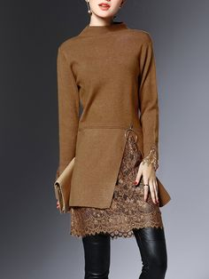 Shop Sweaters - Camel Knitted Guipure Lace Casual Solid Sweater online. Discover unique designers fashion at StyleWe.com.